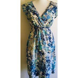 Eddie Bauer Blue Floral Print Cotton Dress 6